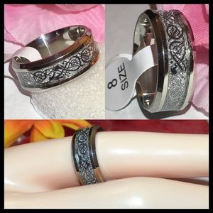 8.0mm Stainless Steel Glitzy Wedding Band Ring